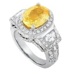 LB Exclusive 18 Karat White Gold 2.72 Carat Diamond and Sapphire Ring