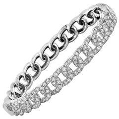 LB Exclusive 18 Karat White Gold 2.79 Carat Diamond Pave Chain Bangle Bracelet