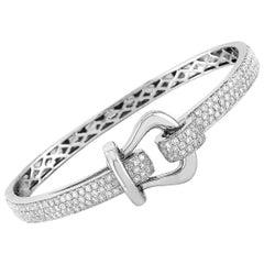 LB Exclusive 18 Karat White Gold 2.80 Carat Diamond Belt Bangle Bracelet