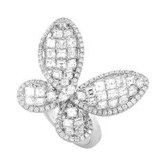LB Exclusive 18 Karat White Gold 5.20 Carat Diamond Butterfly Ring