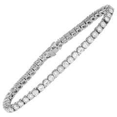 LB Exclusive 18 Karat White Gold 7.31 Carat Diamond Tennis Bracelet