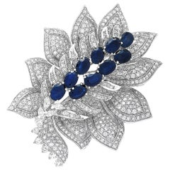 LB Exclusive 18 Karat White Gold, 8.50 Carat Diamond and Sapphire Brooch