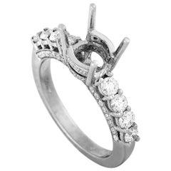 LB Exclusive 18 Karat White Gold and 1.05 Carat Diamond Mounting Ring