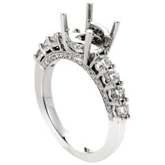 LB Exclusive 18 Karat White Gold and Diamond Semi-Mount 8-Stone Ring ED-9717