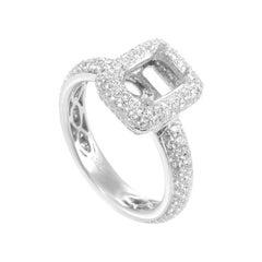 LB Exclusive 18 Karat White Gold Diamond Pave Engagement Ring Mounting ASM-2340W