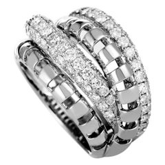 LB Exclusive 18 Karat White Gold Diamond Pave Multi-Band Ring