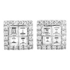 LB Exclusive 18 Karat White Gold Diamond Pave Stud Earrings