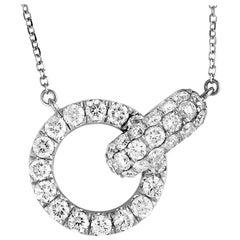 LB Exclusive 18 Karat White Gold Full Diamond Pave Link Pendant Necklace