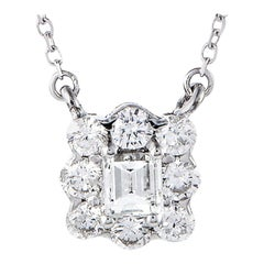 LB Exclusive 18 Karat White Gold Full Diamond Pave Small Square Pendant Necklace