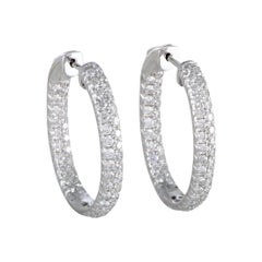 LB Exclusive 18 Karat White Gold Inside Out, 3 Carat Diamond Pave Hoop Earrings