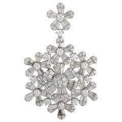 LB Exclusive 18 Karat White Gold Round and Baguette Diamond Pendant