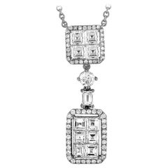 LB Exclusive 18 Karat White Gold Round and Square Diamond Necklace