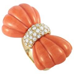 LB Exclusive 18 Karat Yellow Gold 0.65 Carat Diamond and Coral Ring