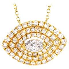 LB Exclusive 18 Karat Yellow Gold 0.66 Carat Round/Marquise Diamond Necklace