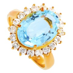 LB Exclusive 18 Karat Yellow Gold 0.72 Carat Diamond and Topaz Oval Ring