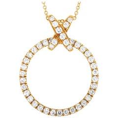 LB Exclusive 18 Karat Yellow Gold 0.79 Carat Full Diamond Pendant Necklace