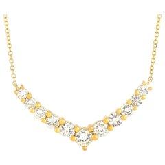 LB Exclusive 18 Karat Yellow Gold 1.00 Carat Diamond Pendant Necklace