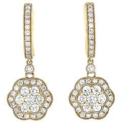 LB Exclusive 18 Karat Yellow Gold 1.05 Carat Diamond Flower Earrings