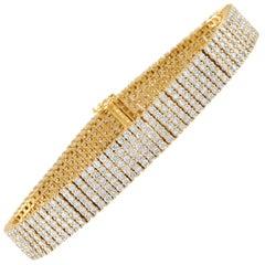 LB Exclusive 18 Karat Yellow Gold 10.59 Carat Five-Row Diamond Mesh Bracelet