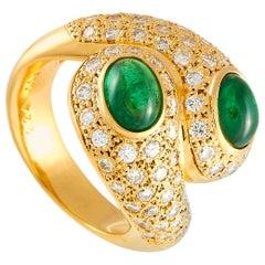 LB Exclusive 18 Karat Yellow Gold 1.12 Carat Diamond and Tsavorite Ring