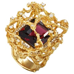 LB Exclusive 18 Karat Yellow Gold 1.25 Carat Diamond and Rhodolite Ring