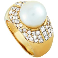 LB Exclusive 18 Karat Yellow Gold 1.51 Carat Diamond and Pearl Ring