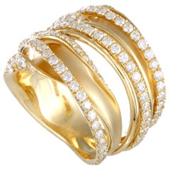 LB Exclusive 18 Karat Yellow Gold 1.52 Carat Diamond Pave Multi-Band Ring