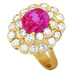 LB Exclusive 18 Karat Yellow Gold 1.56 Carat Diamond and Ruby Ring