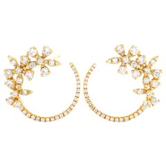 LB Exclusive 18 Karat Yellow Gold 1.60 Carat Diamond Earrings