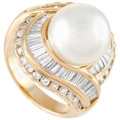 LB Exclusive 18 Karat Yellow Gold 2.00 Carat Diamond and Pearl Ring