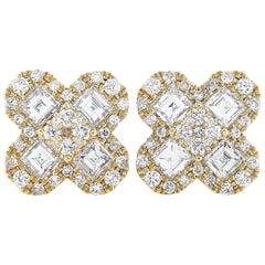 LB Exclusive 18 Karat Yellow Gold 2.00 Carat Diamond Pave Stud Earrings