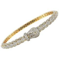 LB Exclusive 18 Karat Yellow Gold 2.20 Carat Diamond Belt Bangle Bracelet
