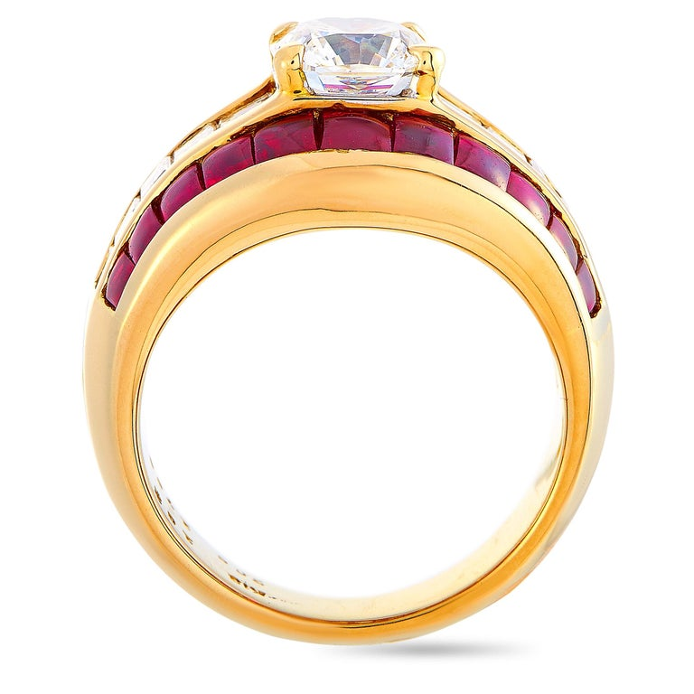 This LB Exclusive ring is made of 18K yellow gold and set with diamonds and rubies that total 2.72 and 3.05 carats respectively (the center diamond features an estimated grade H color and VS1 clarity and weighs 1.70 carats, while the remaining