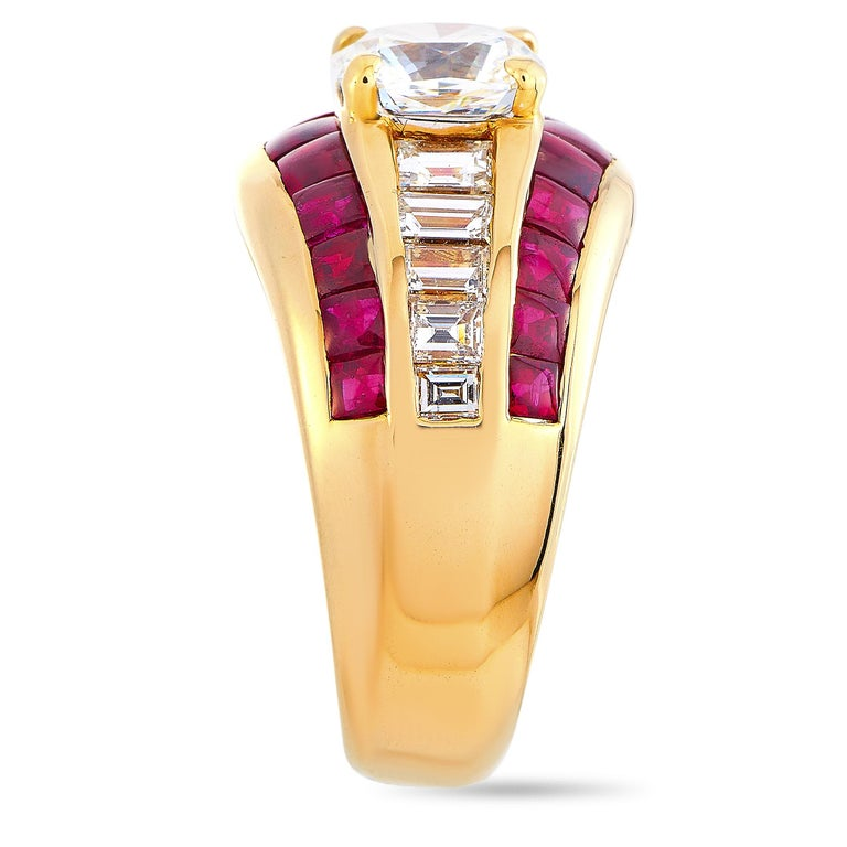 Baguette Cut LB Exclusive 18 Karat Yellow Gold 2.72 Carat Diamond and Ruby Ring For Sale