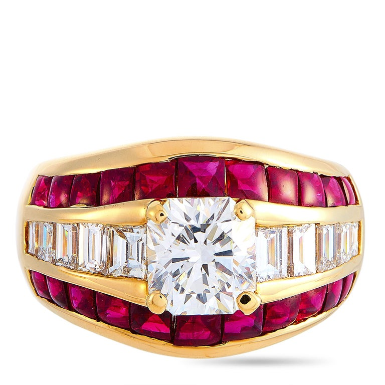 Women's LB Exclusive 18 Karat Yellow Gold 2.72 Carat Diamond and Ruby Ring For Sale