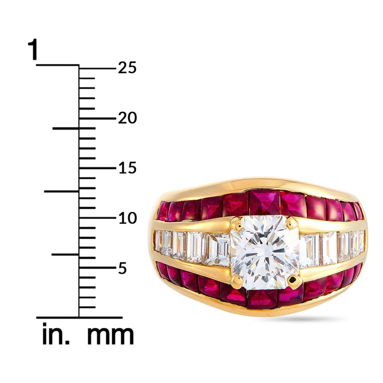 LB Exclusive 18 Karat Yellow Gold 2.72 Carat Diamond and Ruby Ring For Sale 1