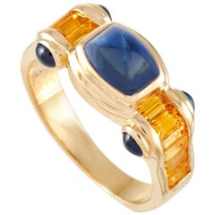 LB Exclusive 18 Karat Yellow Gold 3.23 Carat Sapphire Ring