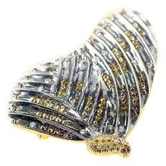 LB Exclusive 18 Karat Yellow Gold and Black Rhodium Multi Diamond Butterfly Pin