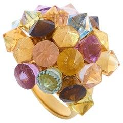LB Exclusive 18 Karat Yellow Gold Citrine, Peridot, Topaz and Amethyst Ring