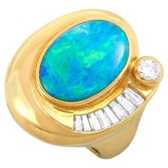 LB Exclusive 18 Karat Yellow Gold Diamond and Opal Ring