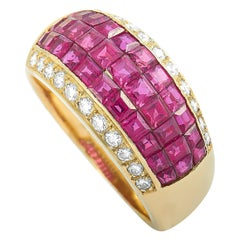 LB Exclusive 18 Karat Yellow Gold Diamond and Ruby Fashion Ring