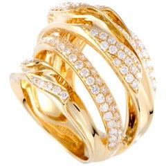 LB Exclusive 18 Karat Yellow Gold Diamond Pave Multi Band Ring