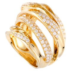 LB Exclusive 18 Karat Yellow Gold Diamond Pave Multi Band Ring
