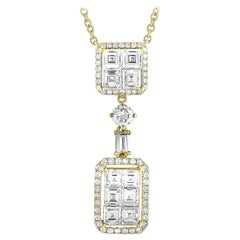 LB Exclusive 18 Karat Yellow Gold Round and Square Diamond Necklace