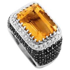 LB Exclusive 18K Gold 3.85 Carat White or Black Diamond Pave and Large Citrine