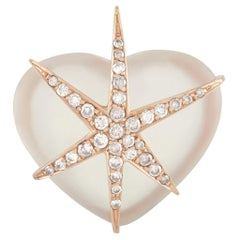 LB Exclusive 18K Rose Gold 0.65 Ct Diamond and Crystal Heart Pendant