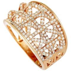 LB Exclusive 18 Karat Rose Gold Diamond Pave Band Ring