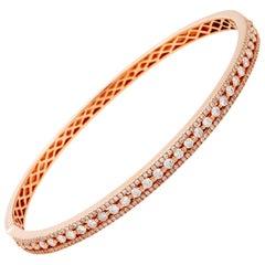 LB Exclusive 18 Karat Rose Gold Diamond Pave Bangle Bracelet