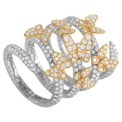 LB Exclusive 18K White and Yellow Gold 2.50 ct Diamond Butterfly Ring