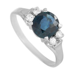 LB Exclusive 18k White Gold 0.15ct Diamond and Blue Sapphire Ring
